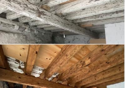 AVANT/APRES sablage poutraison pour une rénovation